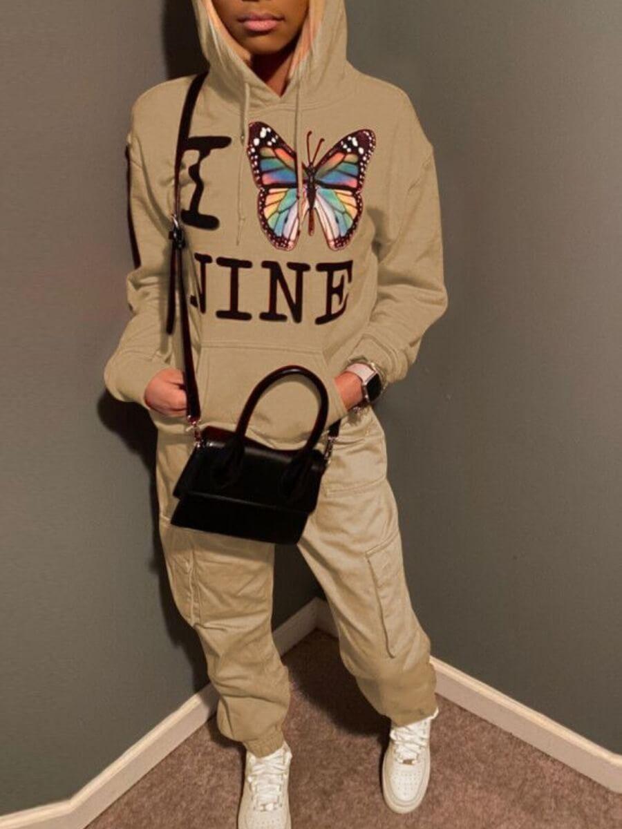 Lovely Street Hooded Collar Butterfly Print Light