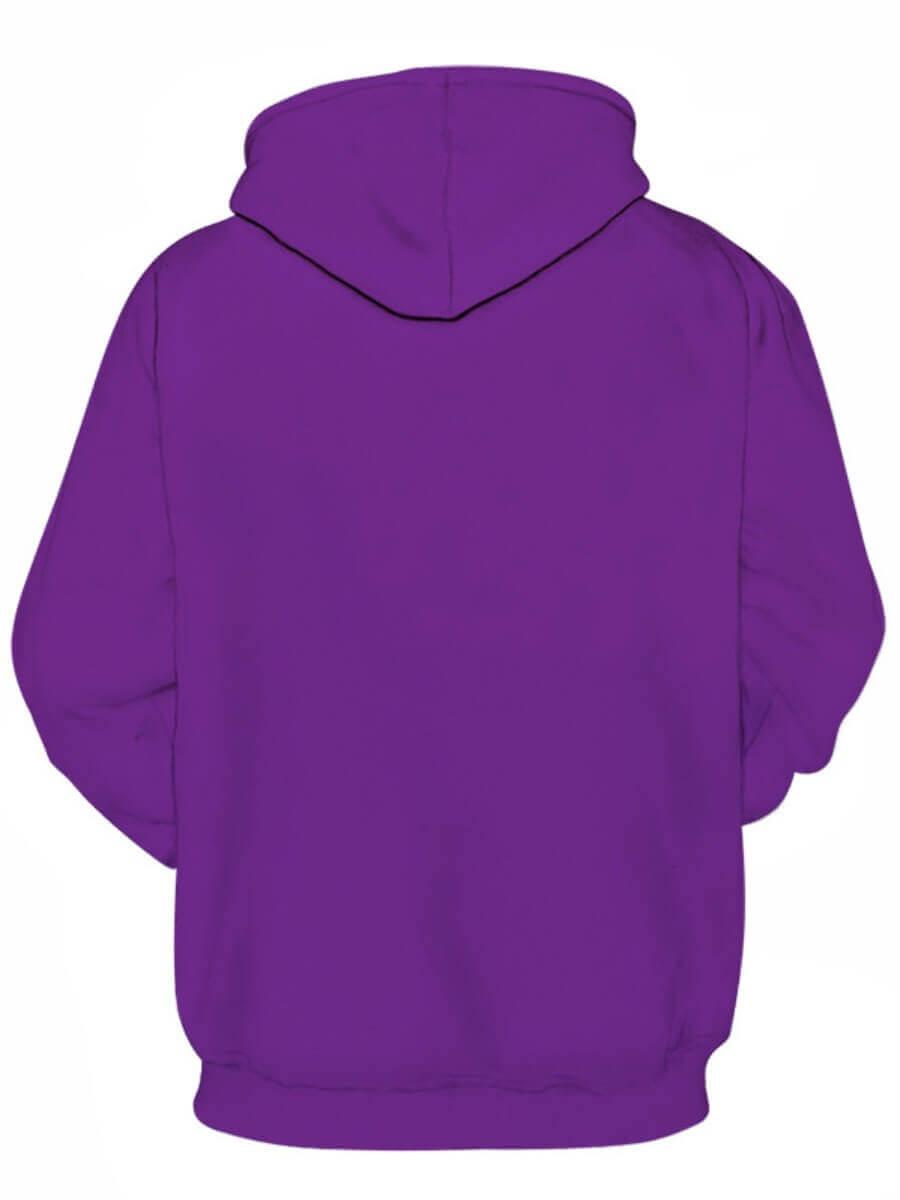 Lovely Leisure Hooded Collar Letter Print Purple P