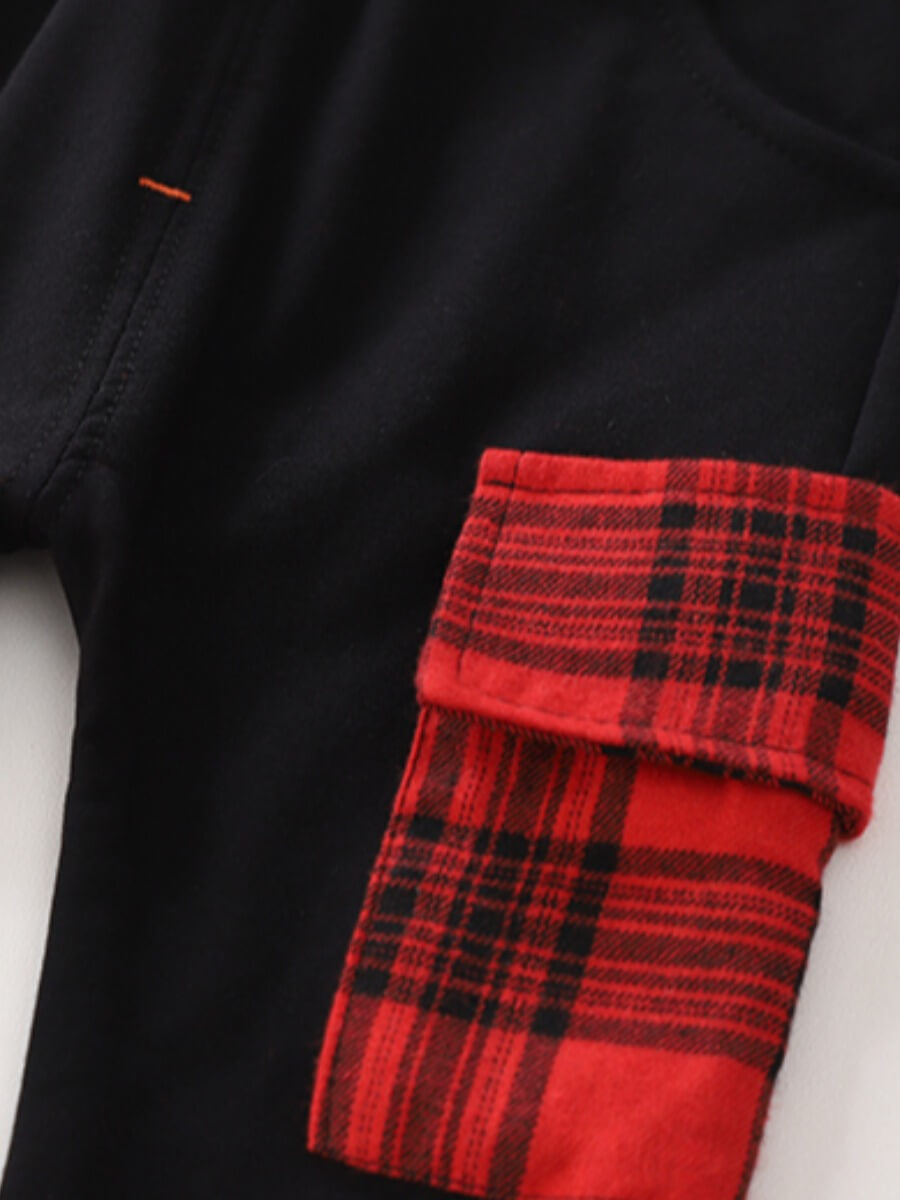 Lovely Street Hooded Collar Letter Print Red Boy T