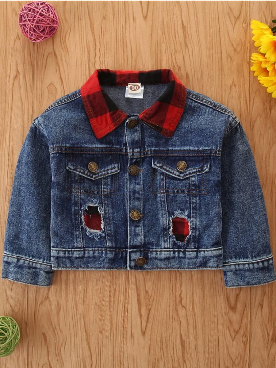 Lovely Street Shirt Collar Hollow-out Blue Boy Coa