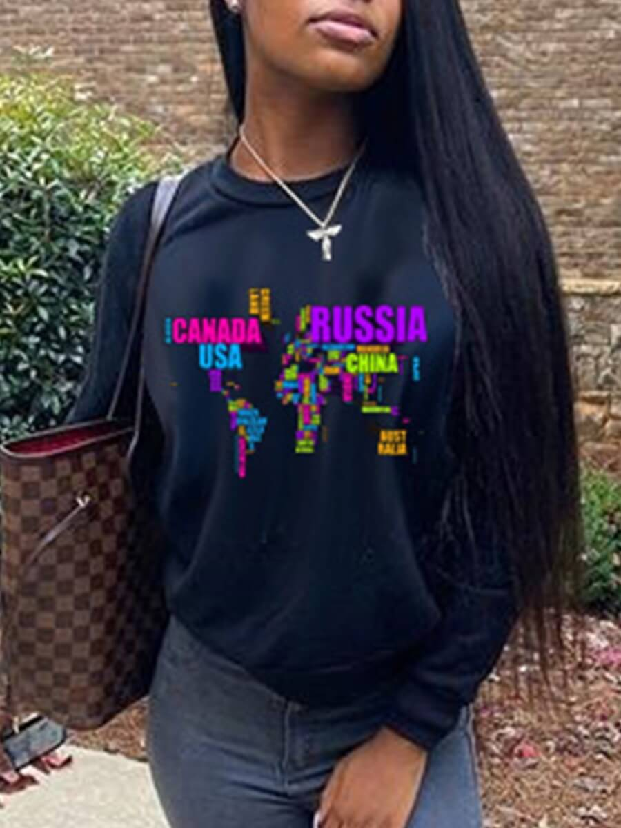 LW Lovely Casual O Neck Letter Print Black Hoodie
