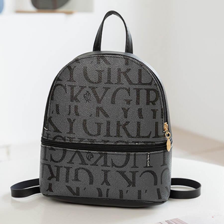 LW Casual Letter Print Black Backpack