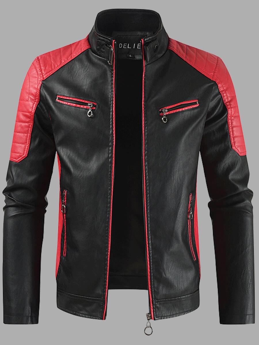 LW Trendy Mandarin Collar Patchwork Red Men Leather