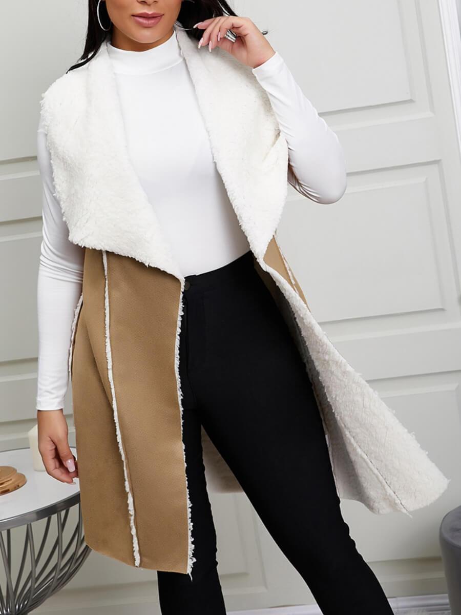 LW Lovely Stylish Patchwork Khaki Waistcoat