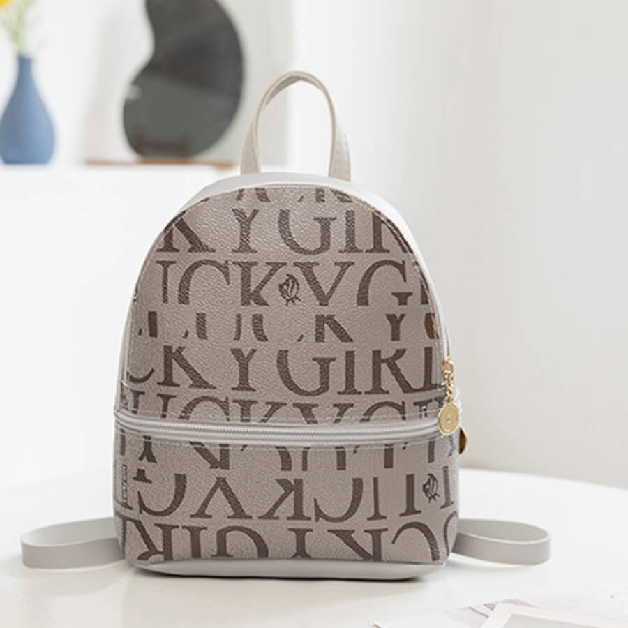 LW Casual Letter Print Light Grey Backpack