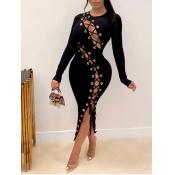 Lovely Sexy O Neck Bandage Design Black Mid Calf Dress