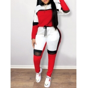 Lovely Sportswear Patchwork Red Plus Size Two-piece Pants Set