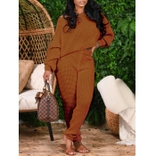 lovely Casual O Neck Basic Light Tan Two Piece Pants Set