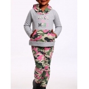Lovely Casual Hooded Collar Camo Print Patchwork G