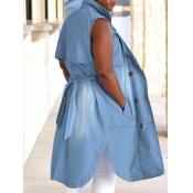 lovely Stylish Sleeveless Buttons Design Blue Deni