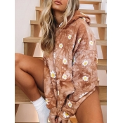 Lovely Casual Hooded Collar Floral Print Light Tan