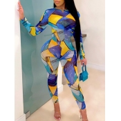 lovely Stylish O Neck Grid Print Skinny Multicolor One-piece Jumpsuit