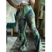 Lovely Casual Camo Print Broken Holes Green Plus Size Pants