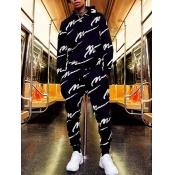 lovely Street Hooded Collar Letter Print Black Men Two-piece Pants Set