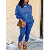 Lovely Casual O Neck Basic Skinny Blue Two Piece Pants Set