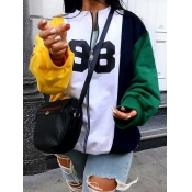 lovely Casual Letter Patchwork Zipper Design White Hoodie