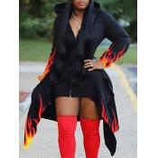 Lovely Casual Hooded Collar Print Asymmetrical Black Coat