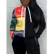 lovely Street Hooded Collar Print Patchwork Black