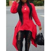 lovely Casual Hooded Collar Zipper Design Asymmetrical Red Long Coat