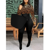 lovely Stylish O Neck Leopard Print Patchwork One-piece Jumpsuit