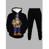 lovely Euramerican Hooded Collar Cartoon Print Black Men Two-piece Pants Set