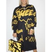 lovely Trendy O Neck Letter Print Black Mid Calf Dress