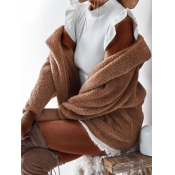 lovely Casual Turndown Collar Loose Brown Faux Fur