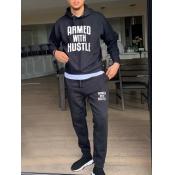 lovely Trendy Hooded Collar Letter Print Black Men Two-piece Pants Set