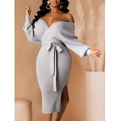 Lovely Trendy Backless Lace-up Grey Mid Calf Dress