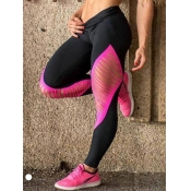 lovely Sportswear Hollow-out Skinny Black Leggings