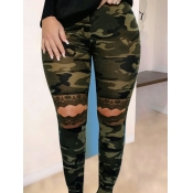lovely Street Camo Print Broken Holes Green Leggin