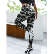 lovely Sportswear Camo Print Skinny Green Leggings