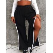 lovely Chic Patchwork Side High Slit Black Pants