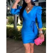 Lovely Stylish V Neck Lace-up Blue Mini Dress