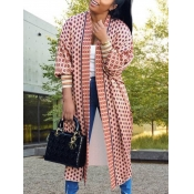lovely Casual Print Loose Pink Long Coat