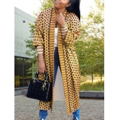 lovely Casual Print Loose Light Coffee Long Coat