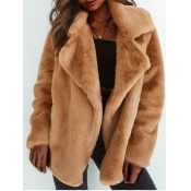 lovely Casual Turndown Collar Basic Brown Wool