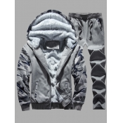 Lovely Casual Hooded Collar Print Patchwork Dark Grey Men Two-piece Pants Set