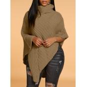 Lovely Casual Turtleneck Loose Khaki Sweater