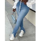 lovely Trendy High-waisted Skinny Blue Jeans