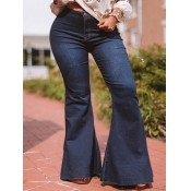 lovely Casual High-waisted Basic Deep Blue Jeans