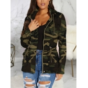 lovely Casual Hooded Collar Camo Print Drawstring