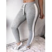 lovely Sportswear Patchwork Skinny Grey Pants