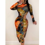 lovely Trendy Half A Turtleneck Tie-dye Hollow-out