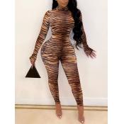 Lovely Trendy Turtleneck Skinny Zebra Stripe One-piece Jumpsuit(Batch Print)