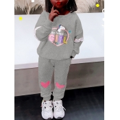 Lovely Sportswear O Neck Letter Print Grey Girl Two-piece Pants Set
