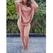 lovely Casual Turtleneck Loose Pink Two Piece Pants Set