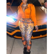lovely Casual Hooded Collar Print Orange Two Piece Pants Set