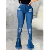 lovely Street High-waisted Broken Holes Blue Jeans