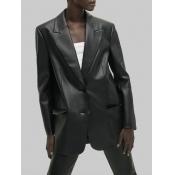 Lovely Trendy Turndown Collar Basic Loose Black Le
